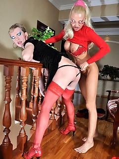 Christiana&Silvester pussy clothed and straponfucked